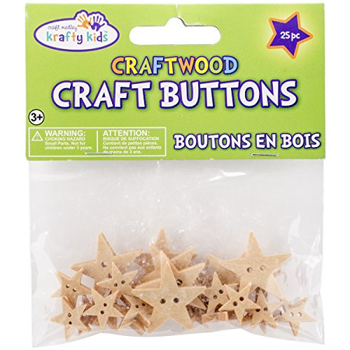 Multicraft Imports Craftwood Stars Shaped Buttons (25 Pack), 13mm to 27mm
