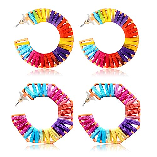 Women's Colorful Statement Earrings Handmade Rattan Bohemian Fashion Drop Earrings Set Hawaiian Jewelry (C style 2 pairs) (Colorful Earrings)
