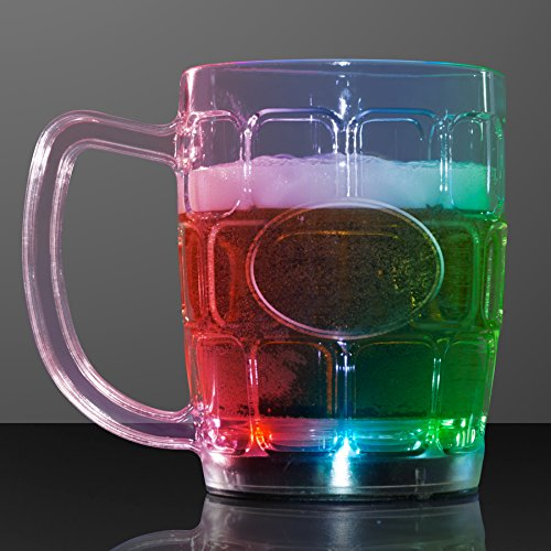 Light Up Beer Mugs with Flashing LED Lights (Set of (Flashing Beer Mug)