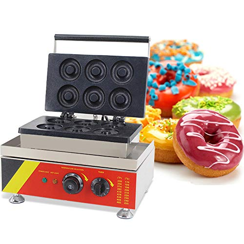 Genmine Commercial Donut Maker Donut Backer Machine Non-stick Stainless Steel 6 Pieces Waffle Doughnut Maker Automatic Electric for Home Kitchen 110V