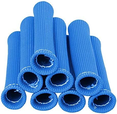 Big-Autoparts 6 Inches Car 1200 Degree Spark Plug Wire Boots Heat Shield Protector Sleeve Cover SBC BBC,Blue,8 Pack