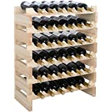 Smartxchoices Stackable Modular Wine Rack Stackable Storage Stand Wooden Wine Holder Display Shelves, Wobble-Free, Solid Wood (36 Bottle Capacity)