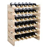 smartxchoice Modular Wine Rack, Stackable Wine Storage Rack Free Standing Floor Wine Holder Display Shelves, Solid Wood - Wobble-Free