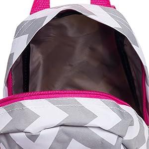 "11.5"" Chevron Print Mini School Travel Backpack (Grey & White w/ Pink Trim)"