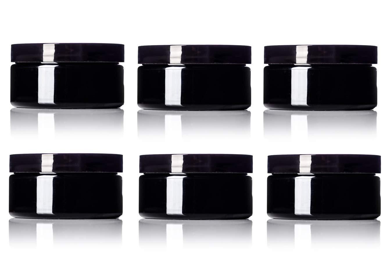 6 Pack – 8 oz Black PET Wide Mouth Single Wall Jar with Black Lids 89-400 neck