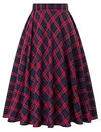 Kate Kasin Women's A-Line Vintage Skirt Grid Midi Plaid Skirt KK633/ KK495