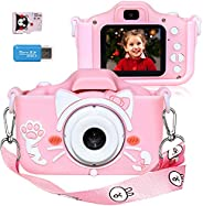 Langwolf Kids Camera for Girls, Digital Camera for Kids Toys Children Selfie Photo Video Camera with 32GB SD C