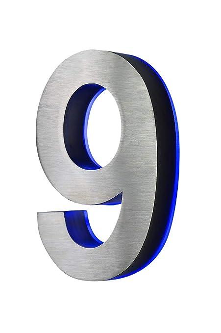 Número 9 en acero inoxidable 3D con CA, H18cm/180 mm LED ...
