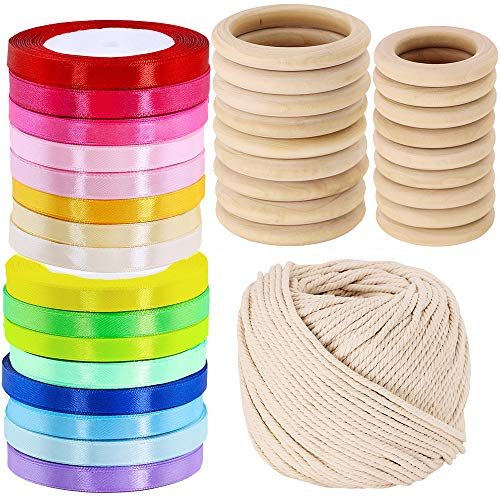 Supla 16 Colors Satin Ribbon Rolls and 20 Pcs 2 Size Unfinished Wooden Rings and 109 Yard Macrame Cotton Cord String Rope for DIY Rainbow Hand Kite Party Favor Macrame Plant Hangers -