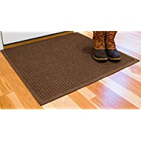Hudson Exchange Waterhog Fashion Polypropylene Fiber Entrance Indoor/Outdoor Floor Mat, 35 L x 35 W, 3/8 Thick, Dark Brown