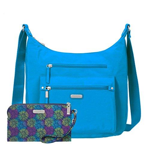 complimentary RFID Day Aqua with Everyday Wristlet Handbag Trip Earphones Baggallini Hobo Travel Bundle XwdzXZ
