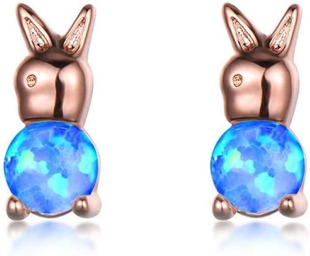 WSNM Conejo joyería Linda Encantadora de Plata 925 Piedras Preciosas Pendientes for Las Mujeres Azul ópalo Blanco del oído del Partido del Color Oro Rosa Espárragos