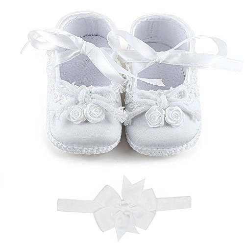 Delebao Baby Girl Infant Satin Christening Baptism Shoes Dance Ballerina Sneakers (9-12 Months, Flower with Headband) (Natural Satin Footwear)