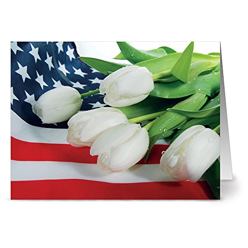 (24 Memorial Day Note Cards - White Tulip Tribute - Blank Cards - Red Envelopes Included)