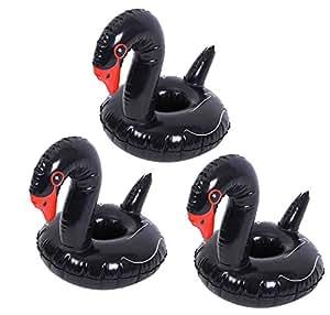 DATO 3 Piezas Flotador Posavasos Titular de la Taza Piscina Inflable Bebida Flotador Juguetes de Baño para Niños y Adultos - Cisne Negro