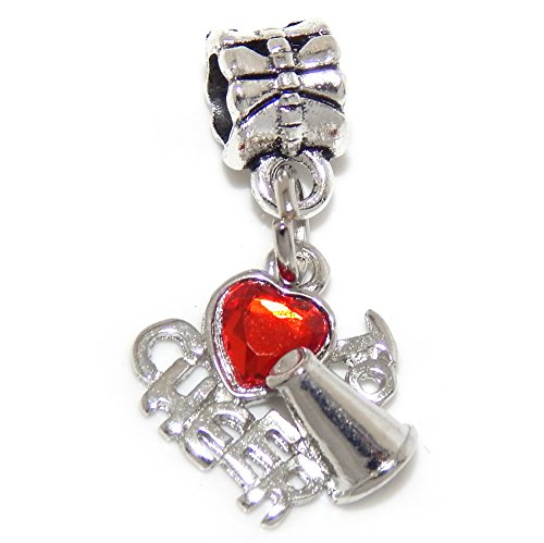 GemStorm Silver Plated Dangling 'Love to Cheer w/ Red Crystal Heart' For European Snake Chain ()