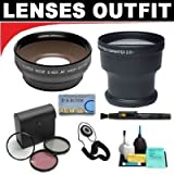 3x Digital Telephoto Professional Series Lens + 0.5x Digital Wide Angle Macro Professional Series Lens + 3 Piece Digital Camera Filter Kit + 6-Piece Deluxe Cleaning Kit + Lenspen + Lens Cap Keeper + DB ROTH Micro Fiber Cloth For The Sony HDR-UX1, DCR-DVD101, DVD201, DVD300, DVD301 DVD Camcorders