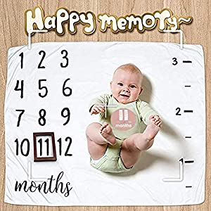 Saibang Baby Monthly Milestone Blanket with 12 Stickers – Best Baby Shower Gift Set,Soft Photography Photo Props for Newborn Boy & Girl, Bonus Picture Frame Wreath Headband