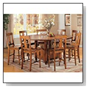 Lifestyle California Tuscany Round Expandable Counter Height Dining Table with Storage