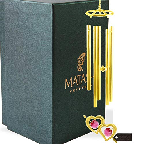 Matashi 24K Gold Plated Crystal Studded Double Heart with Arrow Wind Chime