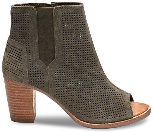 TOMS Women's Majorca Peep Toe Bootie Tarmac Olive Suede Perforated 5 B US by TOMS