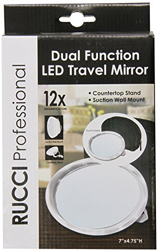 Rucci Stand or Suction Wall Mount LED Mirror, 12X