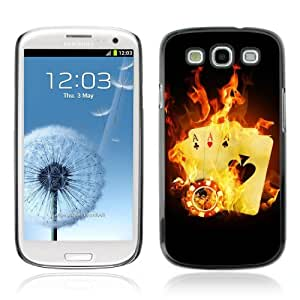 Designer Depo Hard Protection Case for Samsung Galaxy S3 / Burning Aces Cards Cool Photo