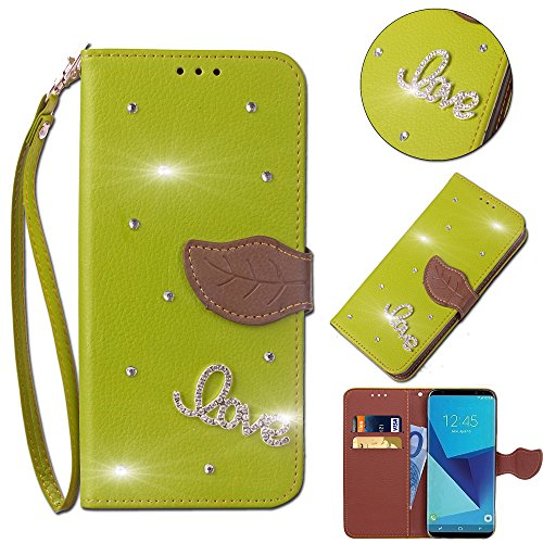 Leecase Bling Diamond Sparkle Glitter 3D PU Leather Bookstyle Magnetic Closure Wallet Flip Cover Creative Love Rhinestone Leaf Pattern for HTC Desire 626/626G-Green (Pu Headlight Cover)