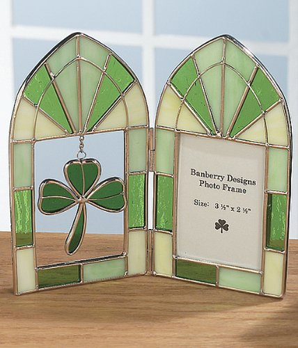 Stained Glass Irish Picture Frame - Green Shamrock Charm - Irish Wedding Picture Frame - Ireland - Ireland Glasses Frames