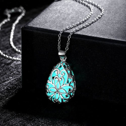 Cosines Jewelry - Cyan Glow In Dark Locket Silver Hollow Glowing Stone Luminous Choker Pendant Necklace (Disney Infinity Halloween Costumes)