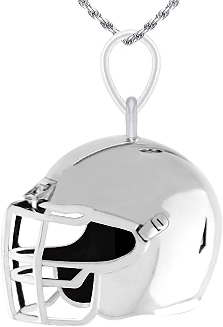 18in to 24in US Jewels And Gems New 0.925 Sterling Silver Small 3D Football Helmet Charm Pendant Necklace