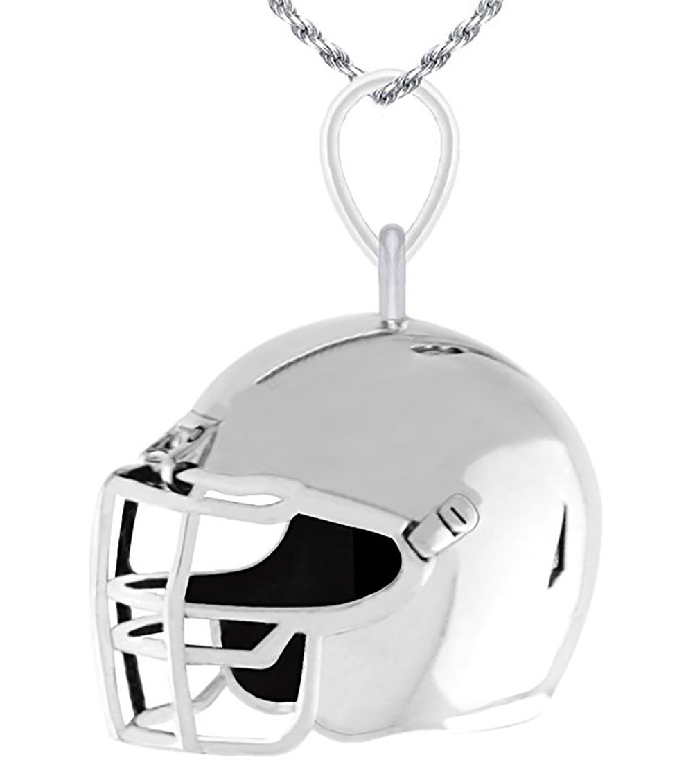 US Jewels And Gems New 0.925 Sterling Silver Large 3D Football Helmet Charm Pendant 1.8mm Figaro Necklace, 20''