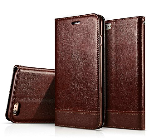 iPhone 6 6s Case,Liujie New style Premium PU Leather Wallet Case Cover with Built-in Credit Card/ID Card Slots for iPhone 6 6s Case. (brown)