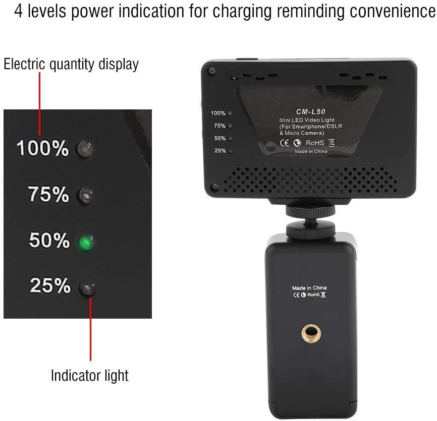Rechargeable On-Camera Dimmable Spotlight Selfie Lighting Panel with 3 Diffusers for DSLR//Camcorders//Smartphone Serounder Mini 50 LED Video Light