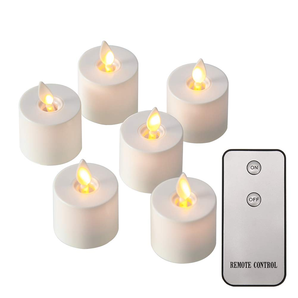 NONNO&ZGF Remote Flameless Candles, Votive Candles Set of 6 (H2 xD1.4) LED Tea Light Candles with Moving Flame