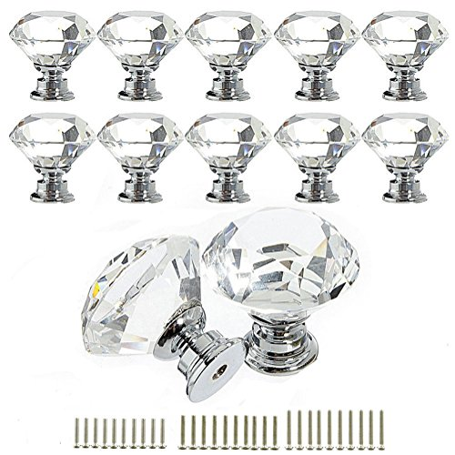 YUYIKES 30mm Diamond Shape Crystal Glass Cabinet Knobs Transparency 12 Pack for Drawer, Chest, Bin, Dresser, Cupboard (12 pcs of transparency)
