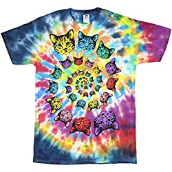 Catopia Tie Dye Kitty Cat Graphic T-Shirt - Medium,Multicoloured