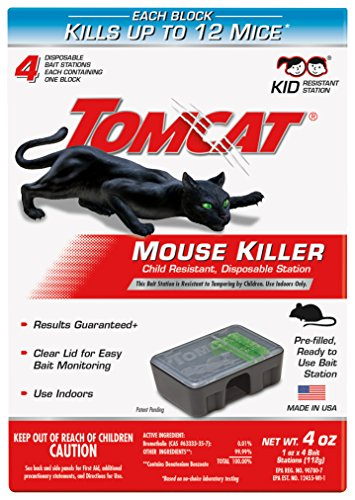 (Tomcat Mouse Killer Disposable Station for Indoor Use - Child Resistant (4 Stations))
