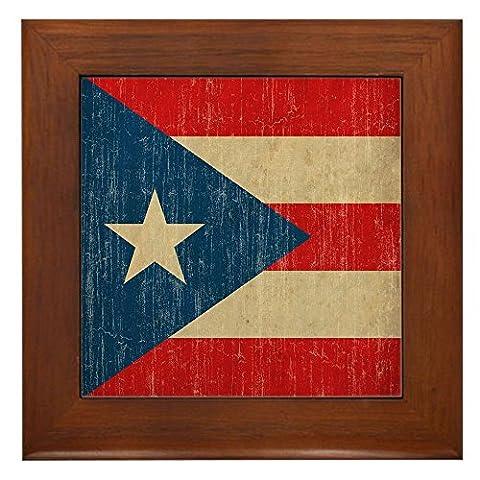 CafePress - Vintage Puerto Rico - Framed Tile, Decorative Tile Wall Hanging - Puerto Rico Kitchen