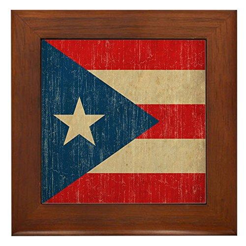 (CafePress - Vintage Puerto Rico - Framed Tile, Decorative Tile Wall Hanging)