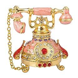 T1 Vintage Style Telephone Shape Jewelry Trinket Box