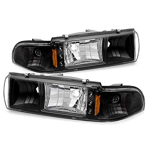 ACANII - For Black 1991-1996 Chevy Caprice/Impala LED Strip Headlights w/Built In Corner Signal Driver & Passenger Side
