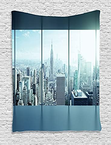 House Decor Tapestry by Ambesonne, Aerial View Of A Big Crowded Modern City From The Office New York Buildings Urban Life Theme, Bedroom Living Room Dorm Decor, 40 W x 60 L Inches, Sky Blue