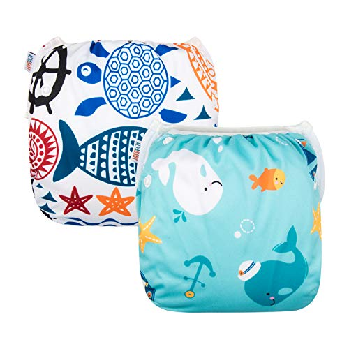 ALVABABY Swim Diapers Large Size 2pcs Reuseable Washable & Adjustable for...