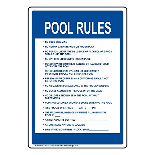 (ComplianceSigns Aluminum Write-on South Carolina Swimming Pool / Spa Sign, 28 x 20 with English, White)