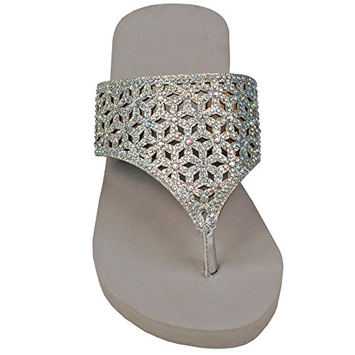 Wilsons Leather Womens Perforated Sparkle Triangle Fauxleather Wedge Sandal 6 Gr - Wilson Leather Shoes