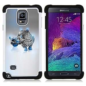 For Samsung Galaxy Note 4 SM-N910 N910 - Blue Cheetah Hybrid Dual Layer caso de Shell HUELGA Impacto pata de cabra con im??genes gr??ficas Steam - Funny Shop -
