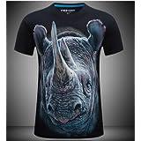 Orange rhinoceros (black) men's short sleeve T-shirt funny creative 3d three-dimensional personality pattern T-shirt 2XL code
