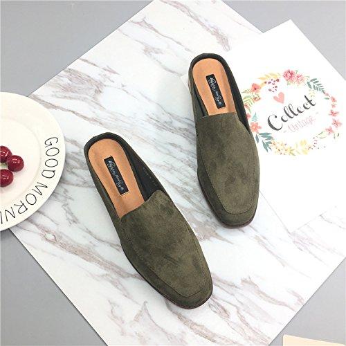 Fankou Primavera Square Baotou matte sento Baotou pantofole ,37, verde