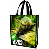 Vandor 99173 Star Wars Yoda Small Recycled Shopper Tote, Green, Black, and White.